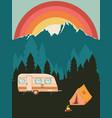 camping poster sunset landscape vector image