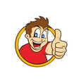 cartoon guy thumbs up vector image vector image