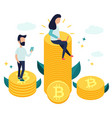 characters sitting on bitcoins and earning money vector image vector image