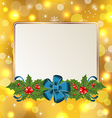 Christmas cute card with mistletoe and bow vector image vector image