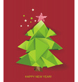 christmas tree folded of green paper vector image vector image