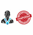 collage champion with scratched championship seal vector image vector image