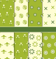 Collection of 8 Seamless Abstract Floral Ecologic vector image