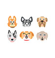 cute cartoon dog different breed muzzles vector image vector image