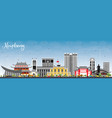 haiphong vietnam city skyline with gray buildings vector image vector image