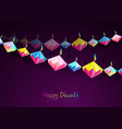 happy diwali celebration indian bunting origami vector image vector image