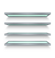 isolated realistic metal shelves with glass vector image vector image