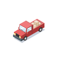 isometric red wagon car with boxes minivan trucks vector image vector image