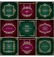lixury golden frames and borders set luxury vector image
