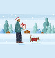 man walking dog in snow while holding gift vector image vector image