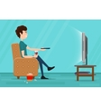 Man watching television on armchair flat vector image vector image