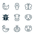 nature icons set with cow pig duck and other hen vector image vector image