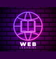 online education icon template neon globe vector image vector image
