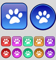 paw icon sign A set of twelve vintage buttons for vector image vector image