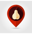 Pear flat mapping pin icon vector image vector image