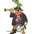 pirate and parrot scouting vector image vector image