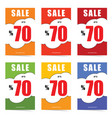 poster of sale up to 70 percent set in color vector image vector image