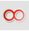 Red Paper Infinity Symbol on Transparent vector image vector image