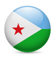 Round glossy icon of djibouti vector image vector image