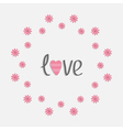Round love frame with pink daisy Flat design style vector image vector image