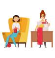 sewing and knitting hobwoman designer vector image