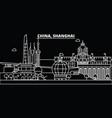 shanghai city silhouette skyline china - shanghai vector image vector image