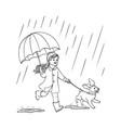 sketh teen girl walking umbrella rain dog vector image vector image