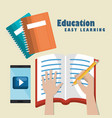 smartphone with education easy e-learning icons vector image