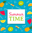 summer time card with tropical fruit ice cream vector image vector image