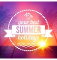 Summer tropical sunset background with text badge vector image vector image