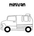 Tranportation of minivan hand draw vector image vector image