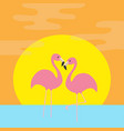 two pink flamingo standing on one leg ocean see vector image vector image