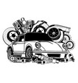 vintage car and components collection in black and vector image vector image