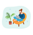young man sitting with laptop in a chair at home vector image