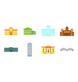 building and architecture icons in set collection vector image