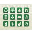 Environmental green icons in organic wood vector image