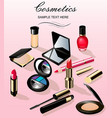 a background with cosmetics lipstick ink a pencil vector image