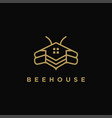 abstract minimalist lineart bee house logo icon vector image
