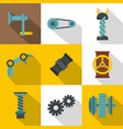 auto parts icon set flat style vector image vector image