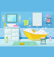 Bashower and bath room interior cartoon