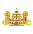 Birthday Cake Castle With Waffle Towers Fantasy vector image vector image
