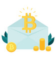 bitcoin inside the envelope piles of bitcoins vector image vector image