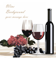 Bottle and Glasses of Red wine with grapes vector image vector image