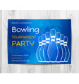 bowling party invitation card sport tournament vector image