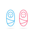 boy and girl like thin line swaddled newborn baby vector image