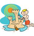 Boy building a sandcastle vector image vector image
