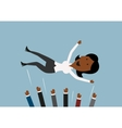 Businessteam throwing businesswoman into the air vector image vector image