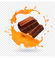 chocolate in caramel splash realistic vector image vector image