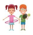 Couple children sport hula hoop tennis vector image