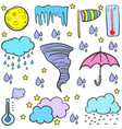 doodle of weather various element vector image vector image